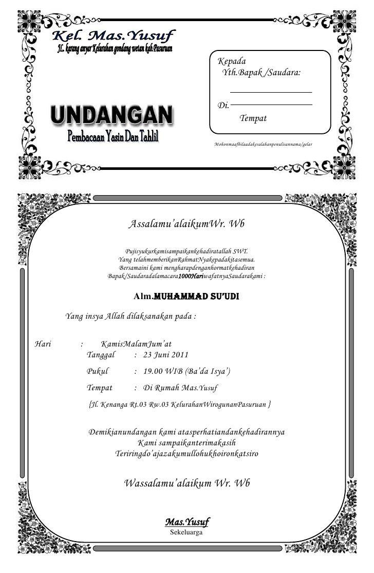 23++ Word undangan tahlilan info