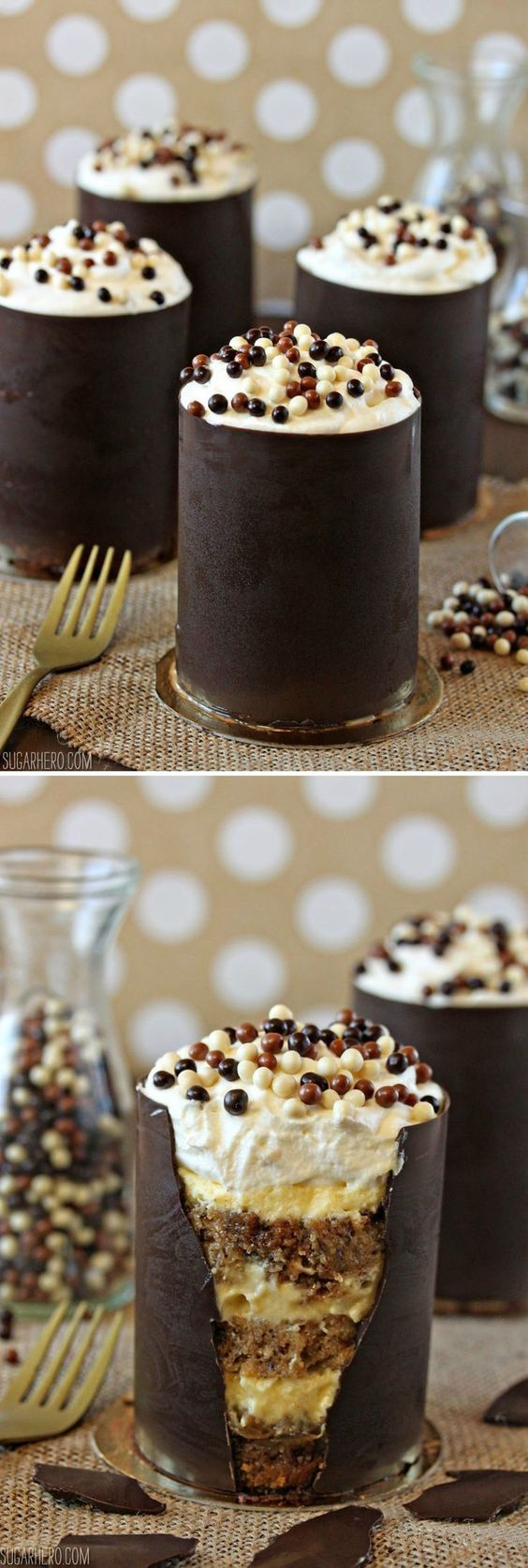 Banana Bread Tiramisu, in an edible chocolate shell! | From SugarHero.com