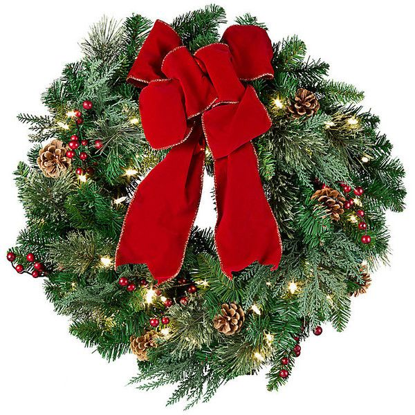 """Improvements Pre-Lit Classic Lighted Christmas Wreath-24"""" - Multi ($50) ❤ liked on Polyvore featuring home, home decor, holiday decorations, christmas, flowers, christmas decoration, christmas wreath, classic light wreath, multi and pre lit wreath"""