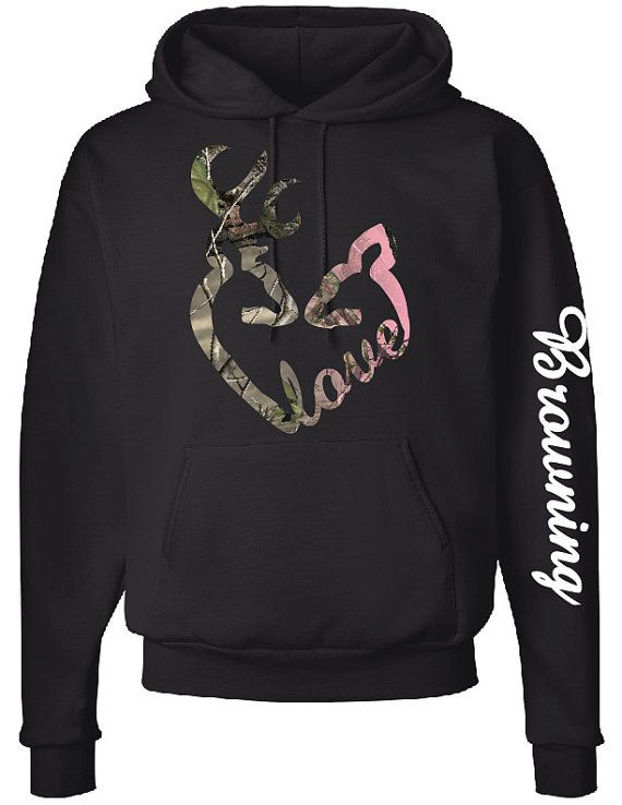 Absolutely love this hoodie!!! Love Logo Hoodie Browning Down Sleeve Camo by CustomCreationsLH, $40.00