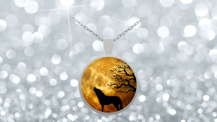 Howling Wolf Necklace - Ominous Moon Sky Background  **Howling wolf necklace with Ominous Moon in the Sky and tree in the background.  This Wolf is howling at the moon, can you see it?