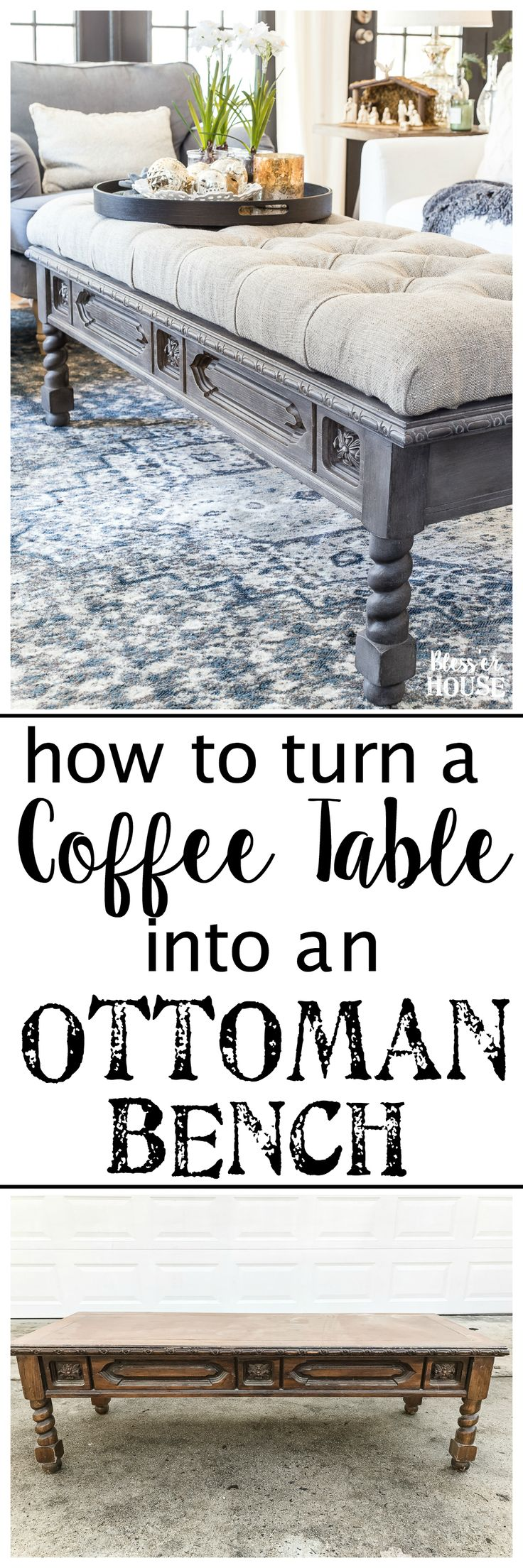 DIY Ottoman Bench from a Repurposed Thrift Store Coffee Table | blesserhouse.com - How to repurpose an old coffee table into a designer-inspired ottoman bench with tips for getting a faux weathered wood look and how to tuft upholstery #furnituremakeover #ottoman #coffeetable