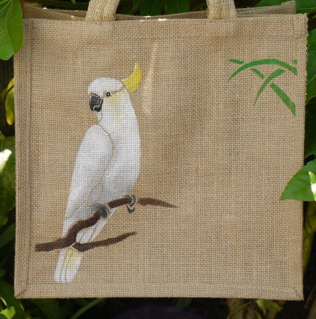 Sulphur Crested Cockatoo Parrot bird jute eco bag hand painted £8.75