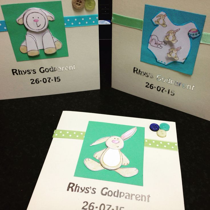 Godparent cards handmade with buttons and ribbons handmade toppers