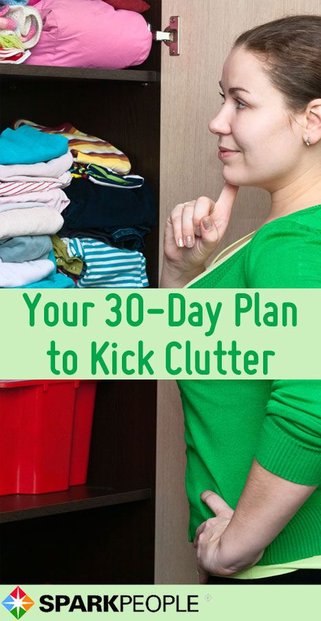 Got spring cleaning on the brain? Take on home clutter one day at a time with this simple plan to get your house clean and organized. | via @SparkPeople #organization