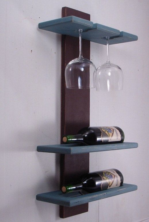 Rustic Modern Wine Rack with Wine Glass Holder - Wall Hanging