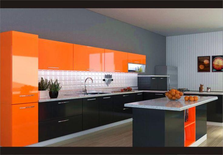Gambar Dapur Minimalis dengan perpaduan warna orange dan abu, sangat cantik dan indah
