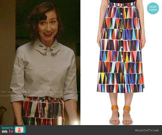Carol's printed button front skirt on Last Man on Earth. Outfit Details: http://wornontv.net/53260/ #LastManOnEarth