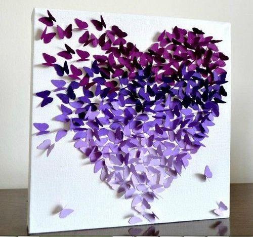 Butterfly-Purple-Heart-Home-DIY-Art-Decorations-Rozaap