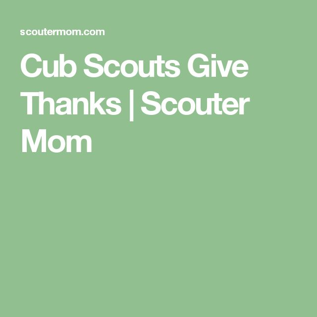 Cub Scouts Give Thanks | Scouter Mom
