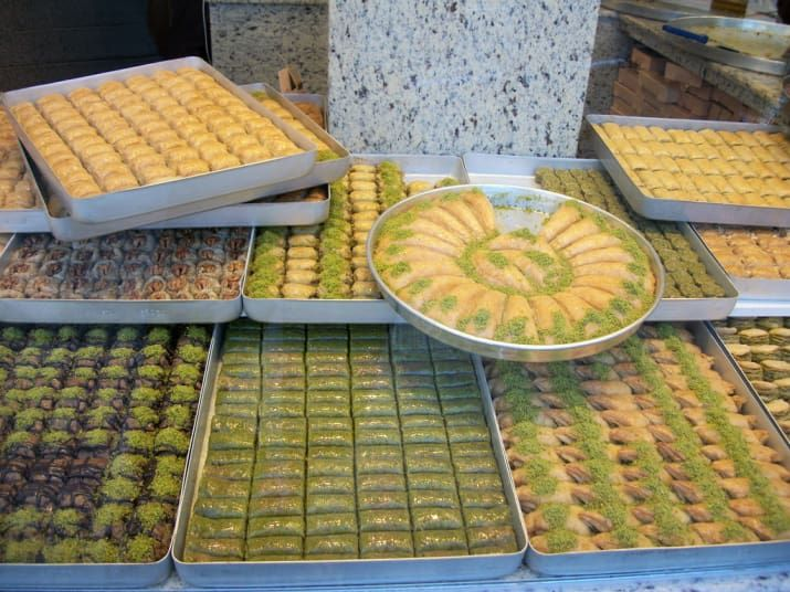 Nutty, syrupy, pastry dessert is never better than when served in Turkey. Often topped in ground pistachios, baklava is sweet and unique, and should be eaten fresh!