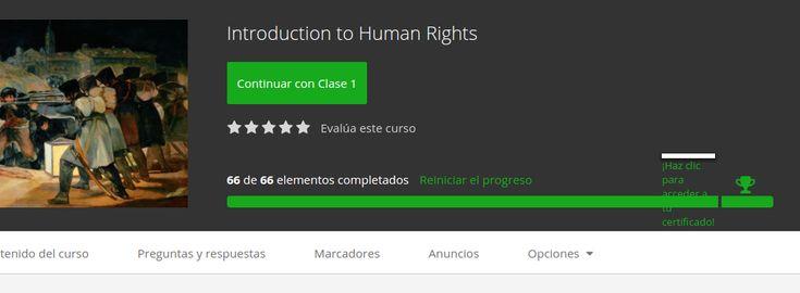 """Certificado de finalización Curso Mooc """" Introducción a Derechos humanos"""", Universidad Udemy"""