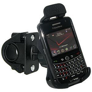 Amzer Bicycle Handlebar Mount for BlackBerry Tour, Niagra 9630 (Black). Swiveling head rotates the custom fit cradle and your device to the perfect viewing position. Swivel ball joint with locking ring - enables the holder to be positioned and locked in place. Suitable for handlebars between 0.75 inches to 1 inch in diameter. Absirb shocks and keep your Blackberry 9630 safe. Easily transferable from one Bicycle to another.