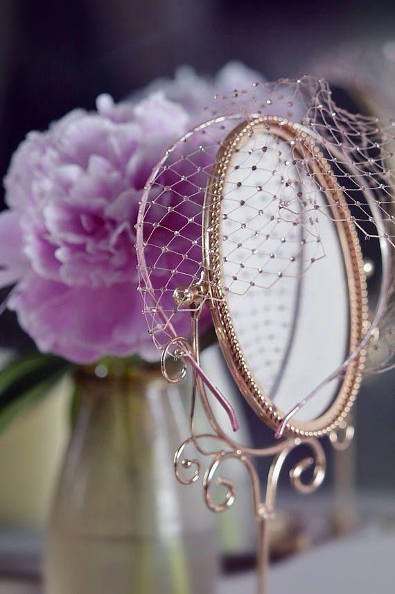 Blush birdcage veil, veil headpiece
