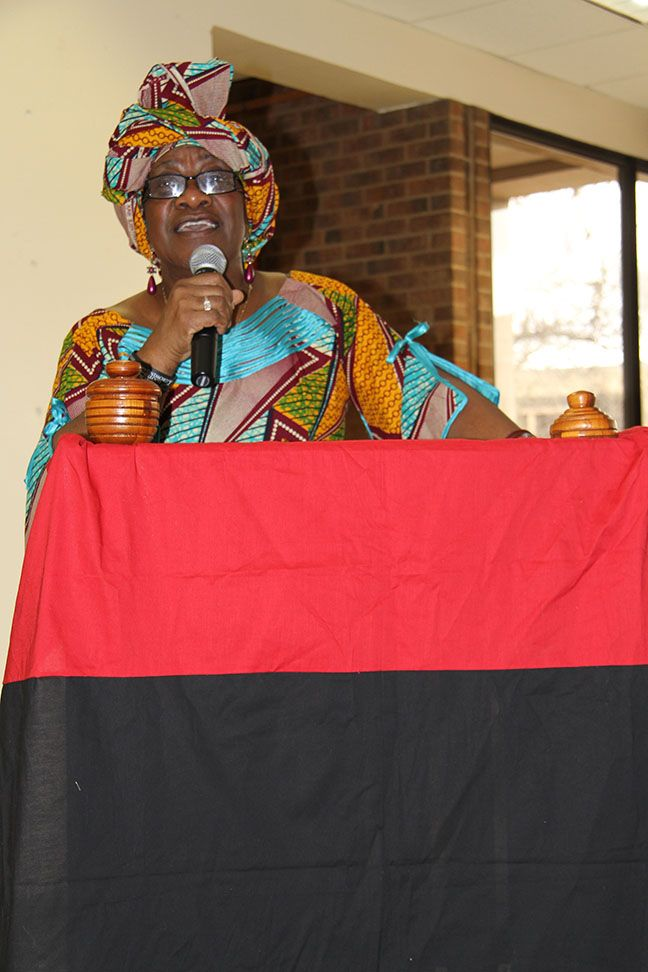 Staff member Lucia Brown-Joseph speaking at the closing ceremonies during Black History month.