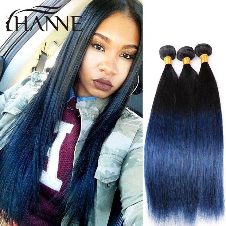 Rechte Peruaanse donker wortels blauw ends menselijk haar 3 stks/partij remy haar blauw ombre weave 2 tone ombre blue bundels Koop Gekleurde haar