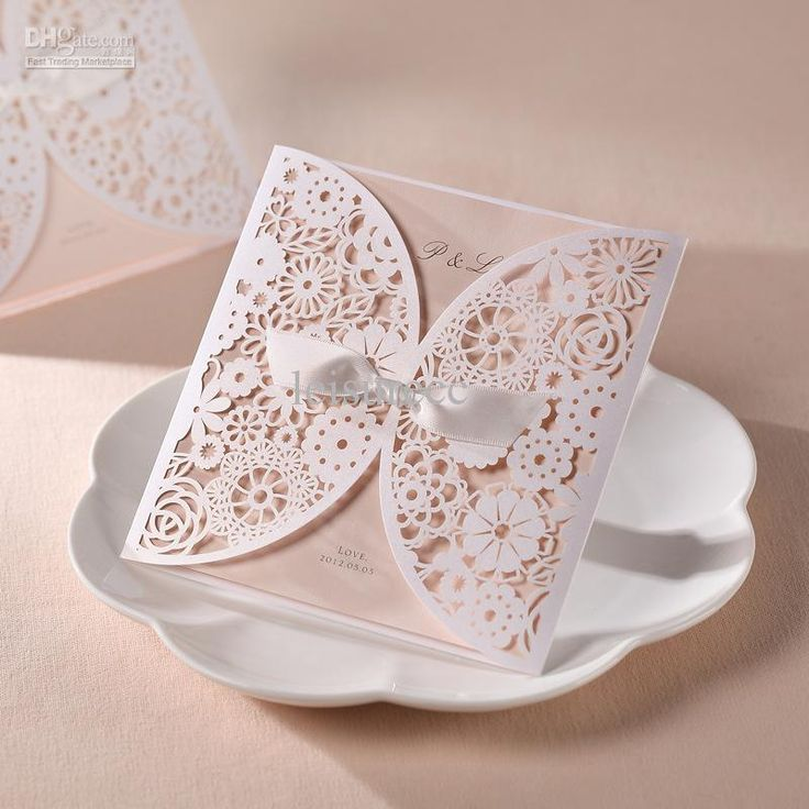 New B Hands 100 Sets Kits Wedding Card Invitations Satin Ribbon Laser Cut
