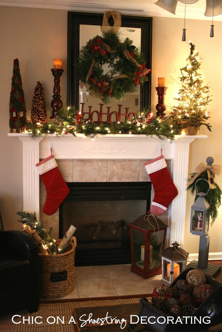 christmas mantel decorating ideas | decided I could pull off a rustic Christmas mantel on the cheap ...