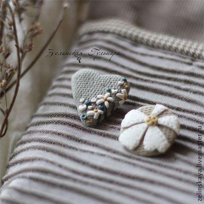 Люблю ромашки. Комплект брошей - серый,серо-бежевый,нейтральный,натуральные цвета