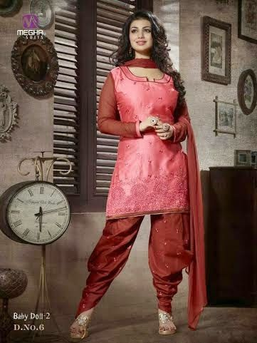 Beautifully Designed Pink Patiyala Dress in Cotton with awesome embroidery work done. Comes along with Maroon contrast matching finely embroidered Bottom and Duppatta.