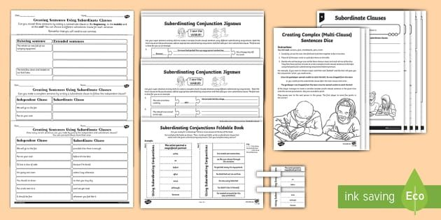 Main and Subordinate Clause Activity Sheet Resource Pack