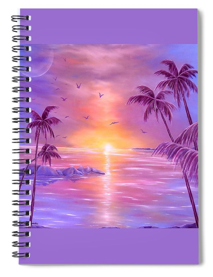 Spiral Notebook,  stationery,school,supplies,cool,unique,fancy,trendy,awesome,beautiful,design,unusual,modern,artistic,for,sale,items,products,office,organisation, palmtrees, tropical, sunset, purple