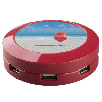 #Cocktail Drink on Tropical Beach USB Charging Station - beach travel beachlife