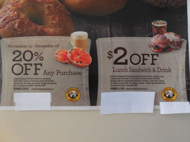 Einstein Bagels Coupons SEASON'S EATINGS Bagel Breakfast Schmear Lunch 20% Off!!