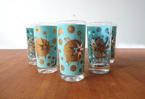 Set of 6 atomic barware starburst glasses kitchenware light teal and gin and tonic - Starburst glassware ...