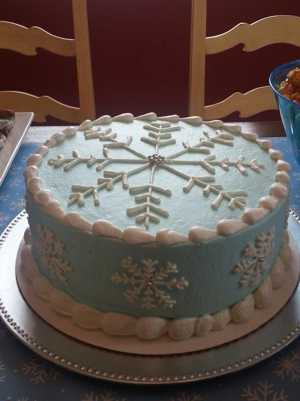 "Snowflake cake made by The Ribbon Box, Marysville Ohio for a ""baby it's cold outside"" baby shower.  Or for a frozen party."