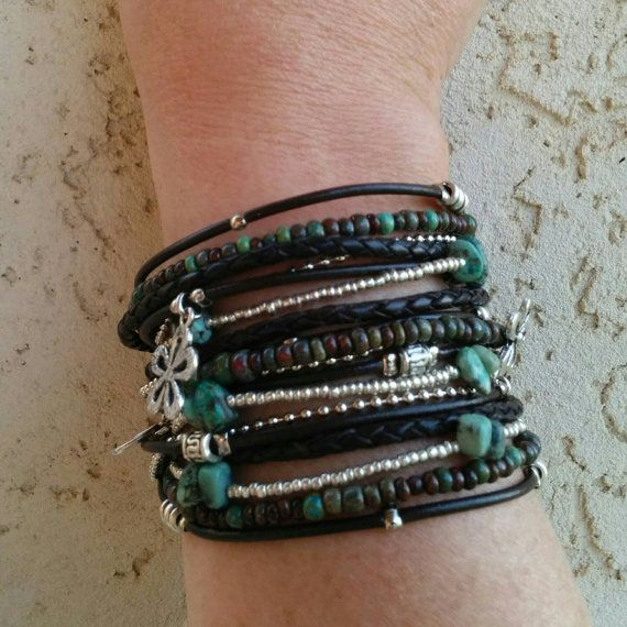 Bracelet Wrap Boho / / cuir marron multirang par DesignsbyNoa