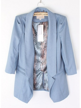blue harf sleeve tailored collar cotton blends suit