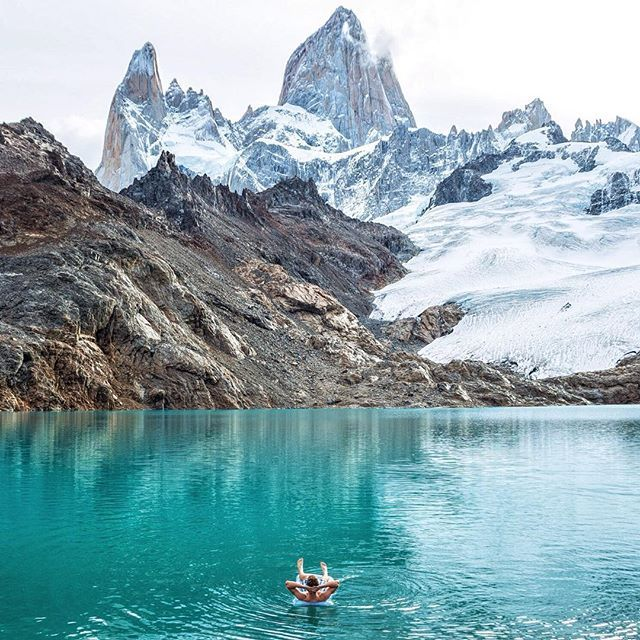 Found my beach in Patagonia Laguna de los Tres - Fitz Roy, El Chaltén, Argentina. // @southamerica @onlyinsouthamerica insider tip: The total return distance (from El Chaltén to Laguna de los Tres and back) is 24 km (14.9 mi) and will take between 8 and 10 hrs. The total ascent is around 770 m, but make sure to save your energy for the 9th km