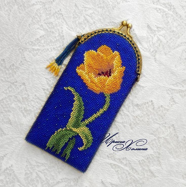 Очечник из бисера (футляр для очков) Тюльпан | biser.info - всё о бисере и бисерном творчестве