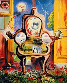 Andre Masson: The Louis XVI Armchair (Le fauteuil Louis XVI),   1938, oil on canvas, 73x60 cm [29-1/4 x 24 inches],   Mrs Henry A Markus collection, Chicago