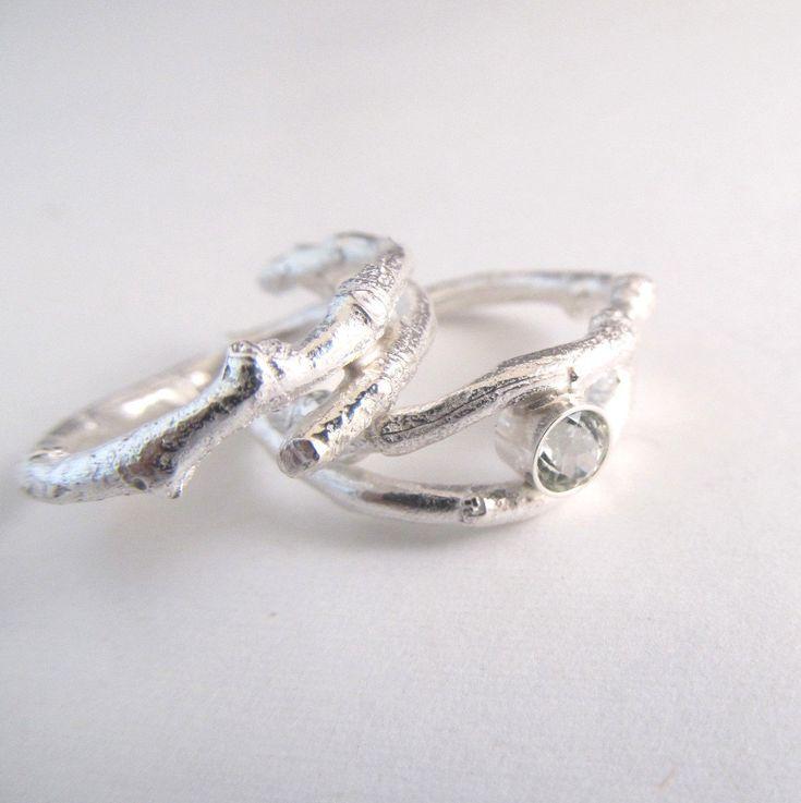 Twig Jewelry Twig Ring with Aquamarine Gemstone by laureltreasures, $115.00