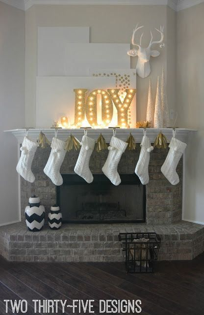 DIY Joy marquee light Christmas mantel