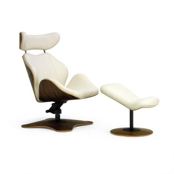 Lounge Tok (WD-1090) - удобное дизайнерское кресло для отдыха на Wooddi.com. Белое кресло с оттоманкой для гостиной или спальни.