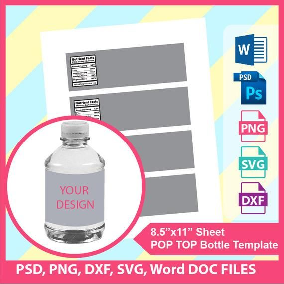 8oz Water Bottle Template Microsoft Word Doc Psd Png And Etsy Bottle Label Template Templates Label Templates