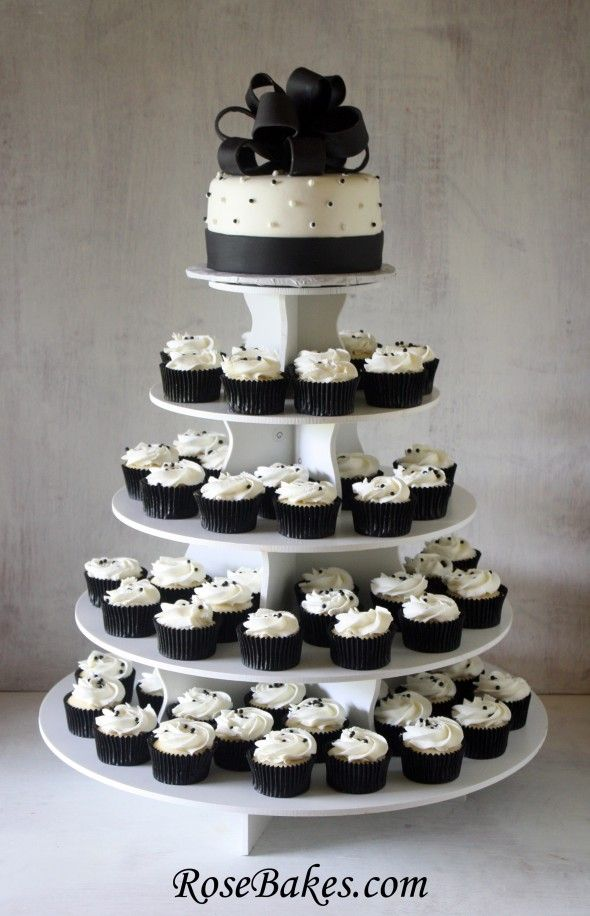 Black White Wedding Cake And Cupcake Tower Wedding Reception