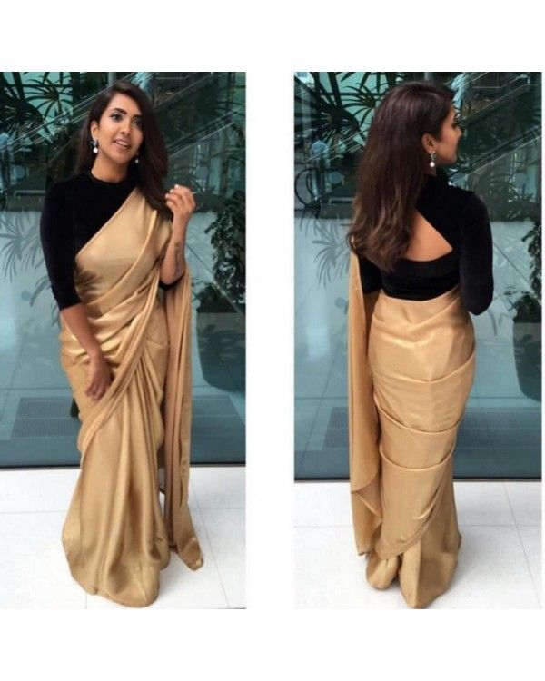 Silver Grey Zari Georgette Plain Partywear Saree With Embroidered