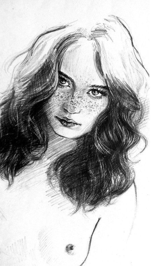 Original pencil drawing naked woman by goalexxago on Etsy