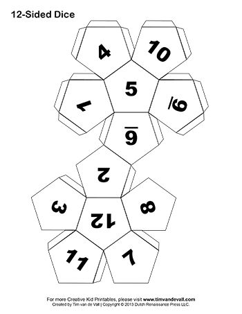 Make your own dice in this easy DIY art craft project for kids. Several printable paper dice templates to choose from: 6-sided, 10-sided, and 12-sided dice.