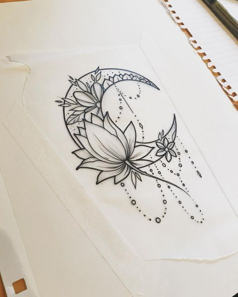 #moon #moontattoo #lotus #lotustattoo #girltattoo #drawings #art