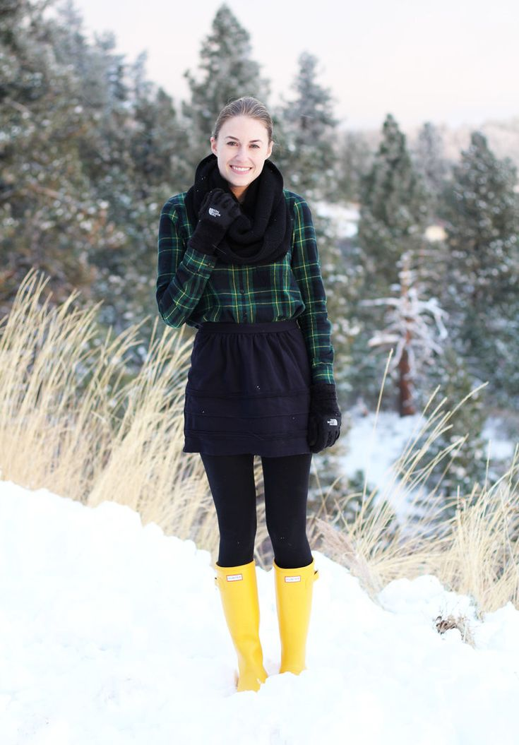 Yellow Hunter boots outfit with plaid flannel shirt and black mini skirt — Cotton Cashmere Cat Hair