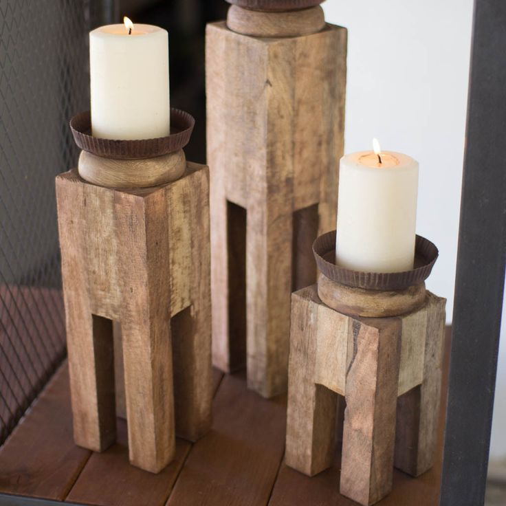 reclaimed wood candle holders set of 3