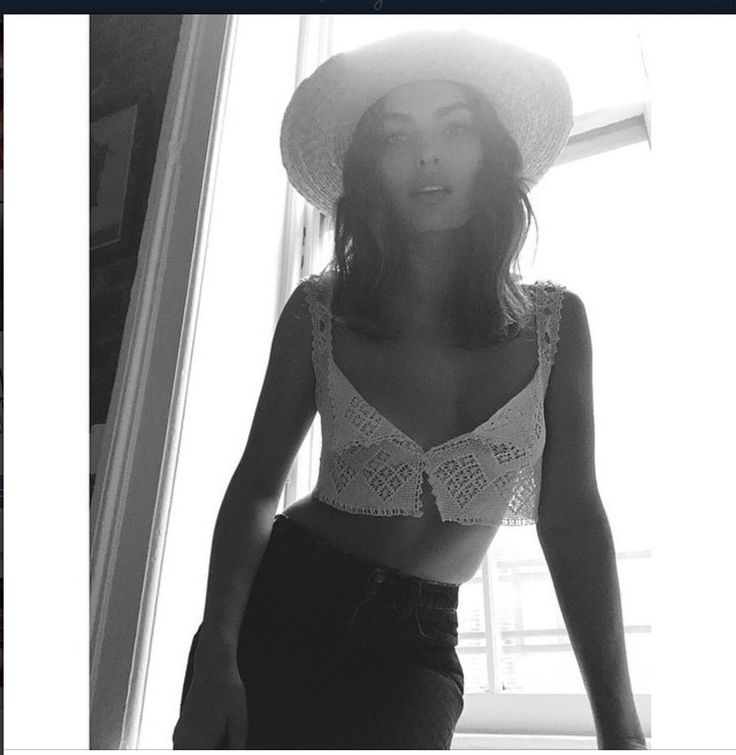 Model Alyssa Miller wearing crochet camisole from Spanish moss