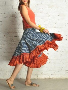 Rust-Blue Knee Length Cotton Skirt - by Folksy Nomad