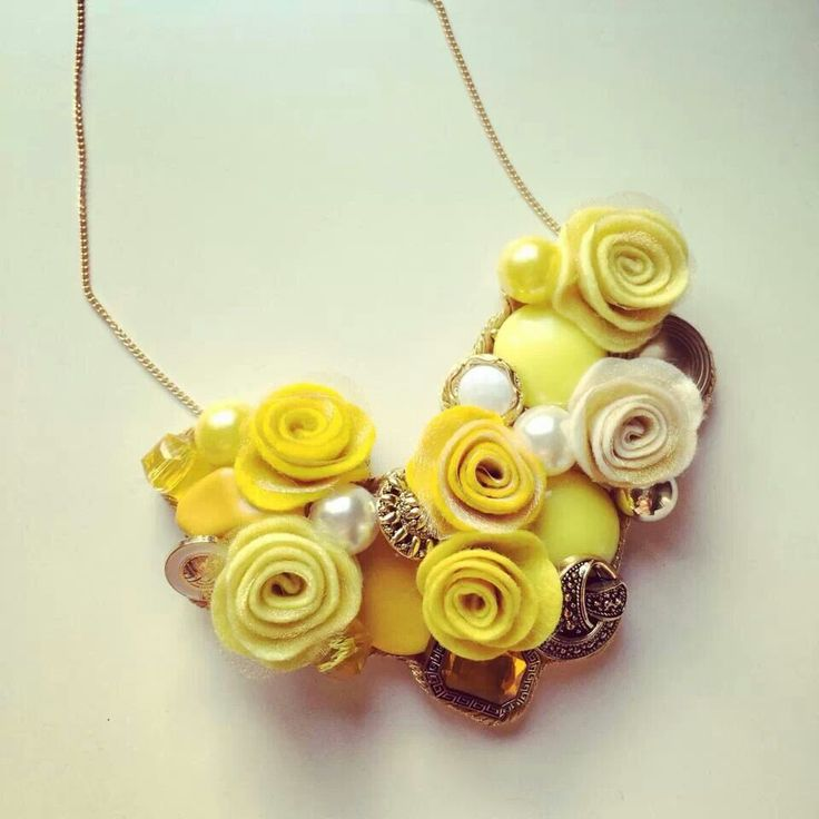 Beautiful romantic yellow #handmade #necklace by #mustrica #accessories