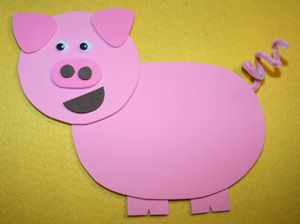 ink craft foam (we used two shades) Black craft foam Pink pipe cleaner 2 googly eyes Printable pig template Scissors Glue Tape
